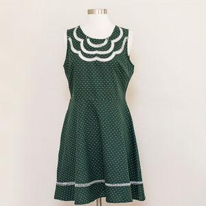 Doe & Rae Green Fit & Flare Dress L